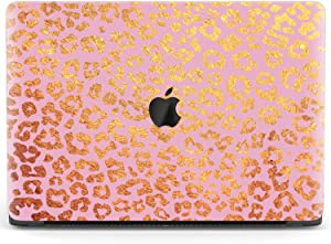 Mertak Hard Case for Apple MacBook Pro 16 Air 13 inch Mac 15 Retina 12 11 2020 2019 2018 2017 Plastic Golden Laptop Leopard Print Glam Animal Protective Girly Cover Clear Pink Fashion Design