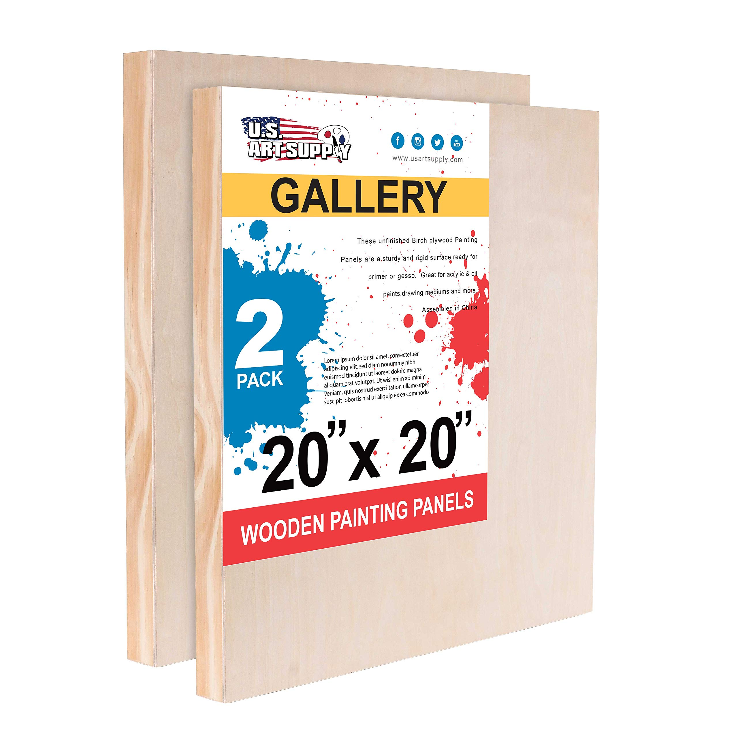 U.S. Art Supply 20'' x 20'' Birch Wood Paint Pouring Panel Boards, Gallery 1-1/2'' Deep Cradle (Pack of 2) - Artist Depth Wooden Wall Canvases - Painting Mixed-Media Craft, Acrylic, Oil, Encaustic by U.S. Art Supply