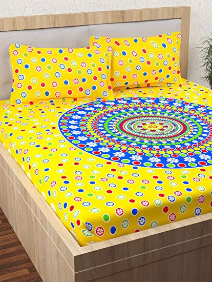 Story@Home 152 TC 100% Cotton Premium Jaipuri Rajasthani Print Vintage Collection 1 Double Bedsheet with 2 Pillow Cover - Yellow