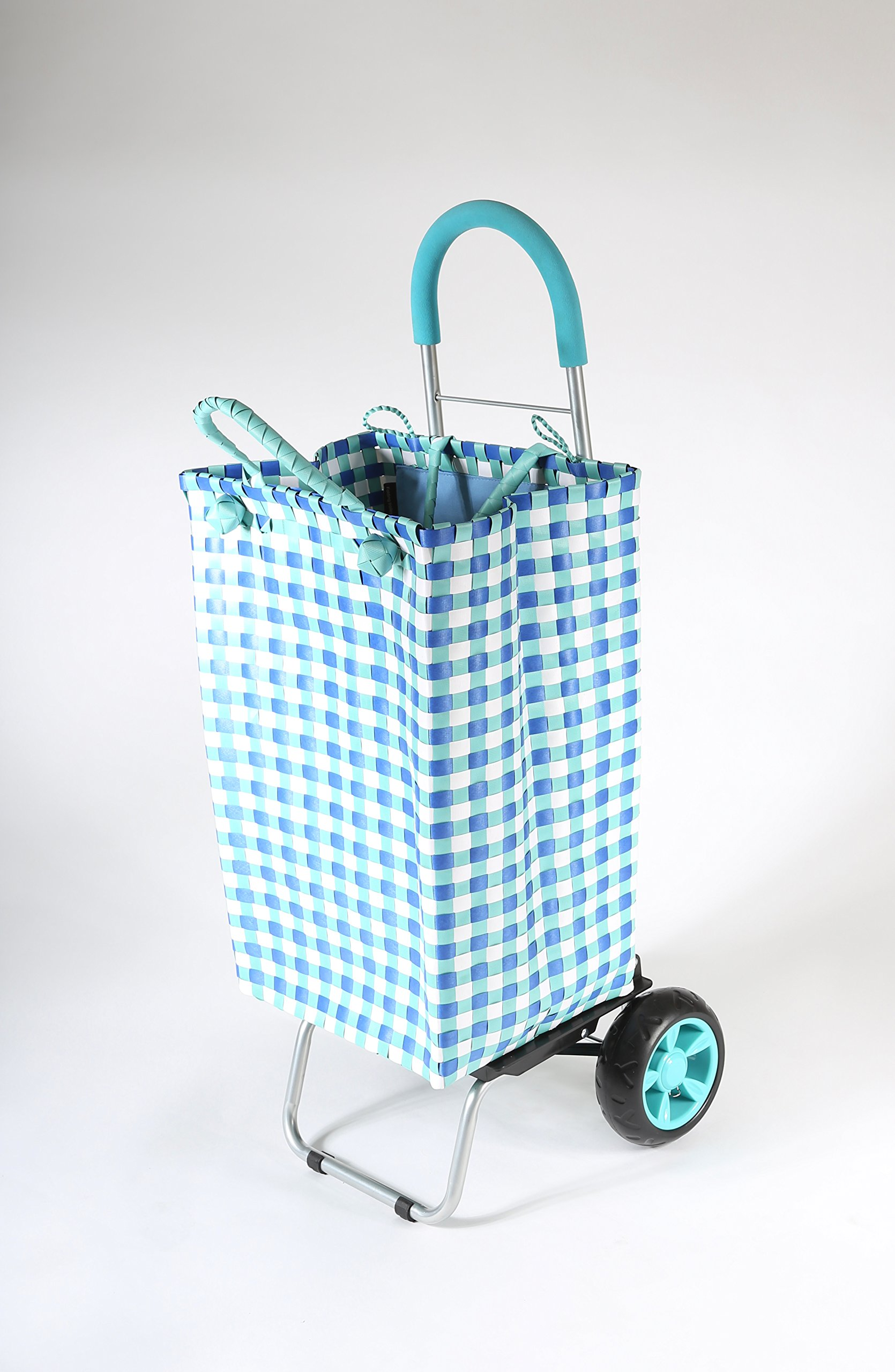 dbest products Trolley Dolly Basket Weave Tote, Blue Shopping Grocery Foldable Cart Picnic Beach by dbest products (Image #2)
