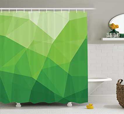 Amazon.com: Lunarable Green Shower Curtain, Abstract Triangle ...