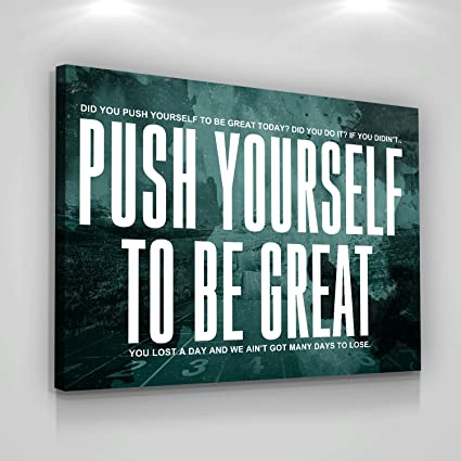Amazon.com: Push Yourself Motivational Canvas Print Wall ...