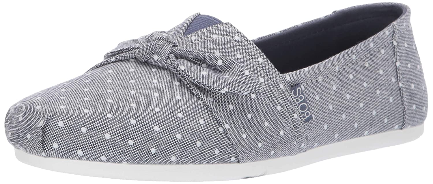 Skechers Women's Bobs Plush Sunset Drift. Polka Dot Chambray Bow Slip on Ballet Flat