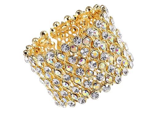 4c8b54332d6 Alilang Womens Golden Bridal Prom Vintage Crystal Rhinestone Stretch Wide  Open Cuff Bangle Bracelet