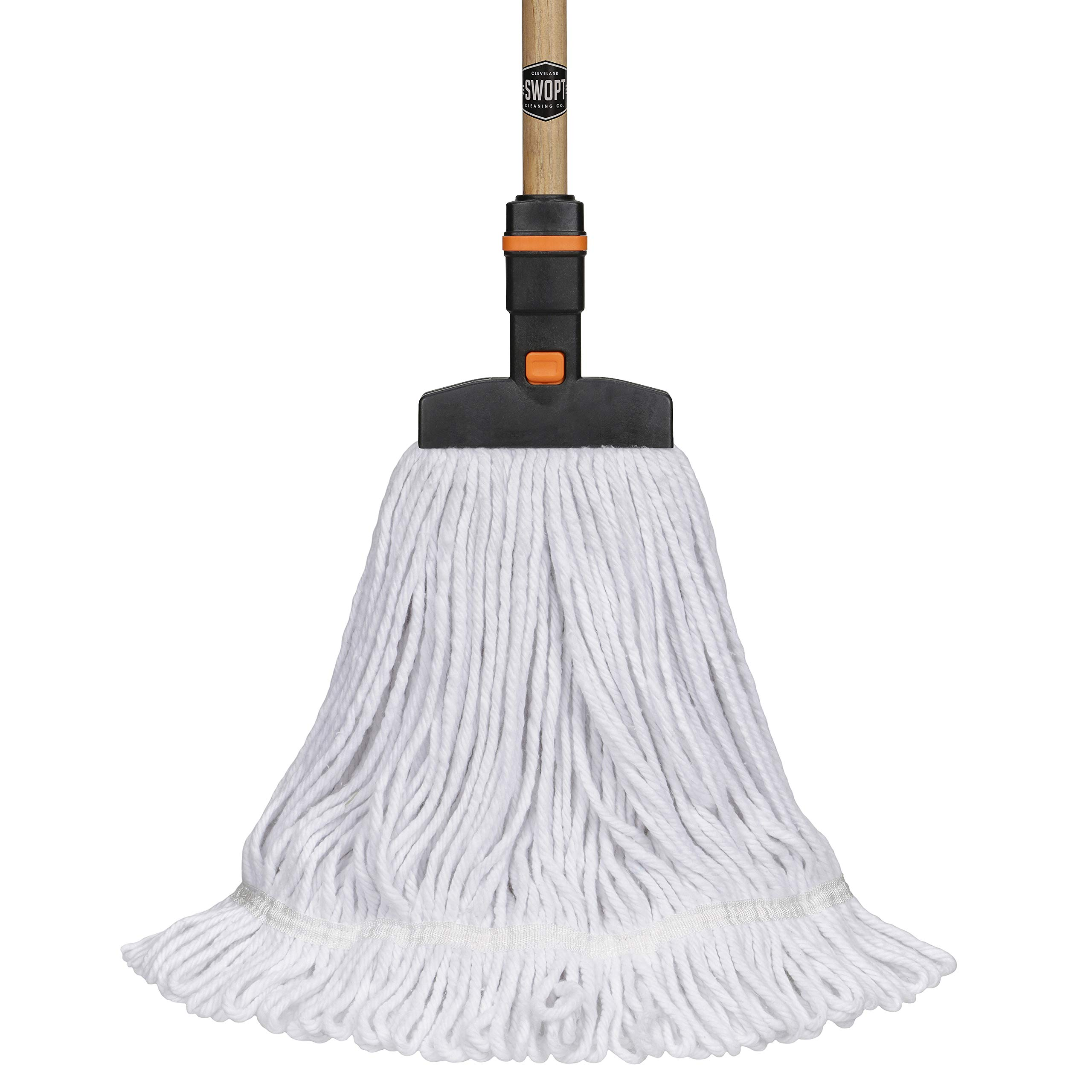 "SWOPT Cotton Mop –60"" Premium Wood Handle –EVA Foam Comfort Grip Provides Comfort, Control, Efficiency –Mop Safe for Wood, Laminate or Tile –Handle Interchangeable with Other SWOPT Products"