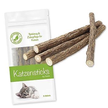 Forck hierba gatera juguetes para gatos de 5 palos, nuestros palos masticables Matatabi apoyan el cuidado dental natural y ayudan con el sarro y el mal ...
