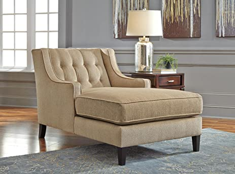 Ashley Lochian Chenille Chaise Lounge in Bisque : ashley chaise - Sectionals, Sofas & Couches