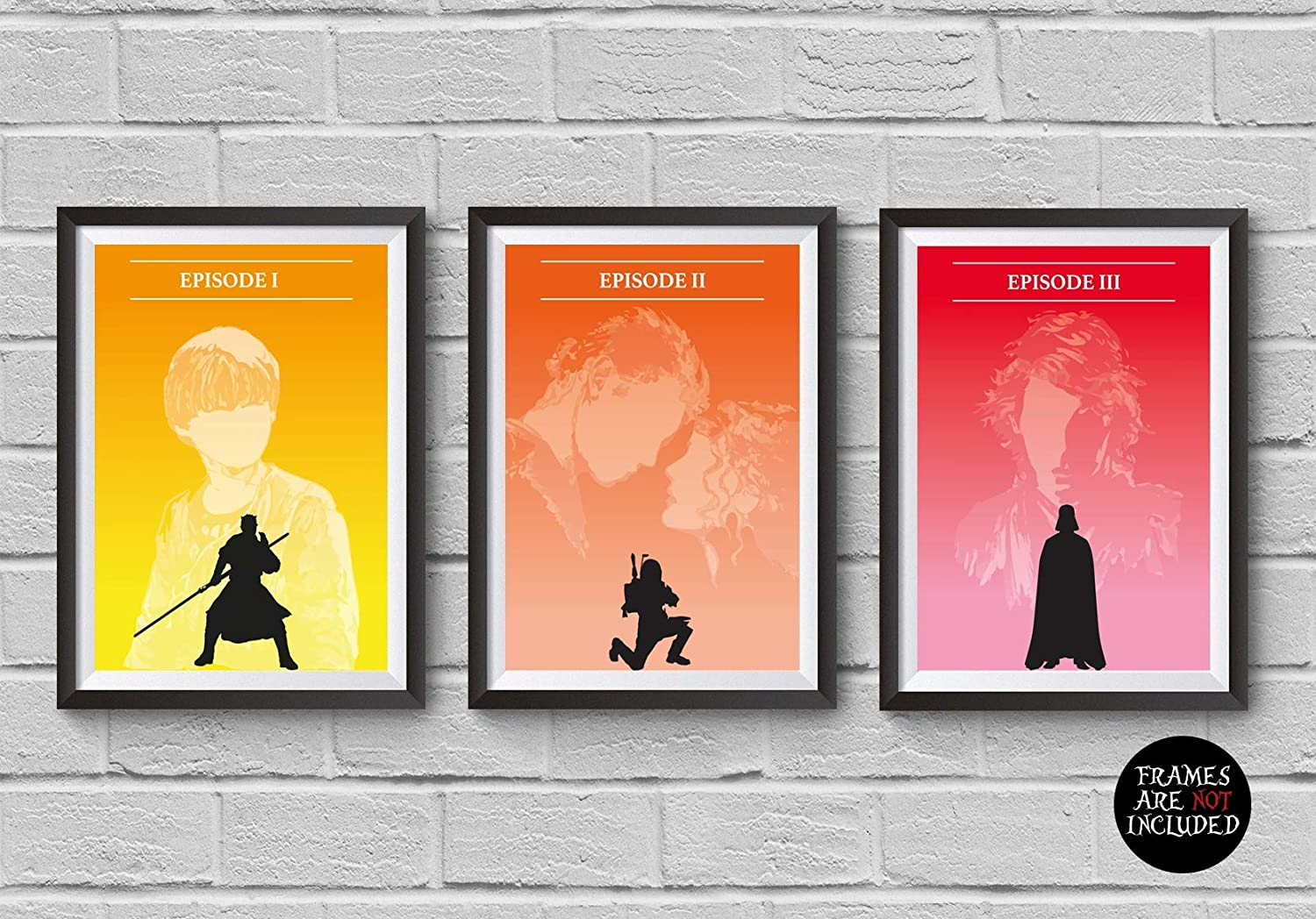Amazon Com Star Wars Minimalist Poster Set 3 Episode I Ii Ii 1 2 3 The Phantom Menace Attack Of The Clones Revenge Of The Sith Skywalker Darth Vader Artwork Wall Decor Illustration