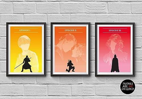 Amazon Com Star Wars Minimalist Poster Set 3 Episode I Ii Ii 1 2 3 The Phantom Menace Attack Of The Clones Revenge Of The Sith Skywalker Darth Vader Artwork Wall Decor Illustration