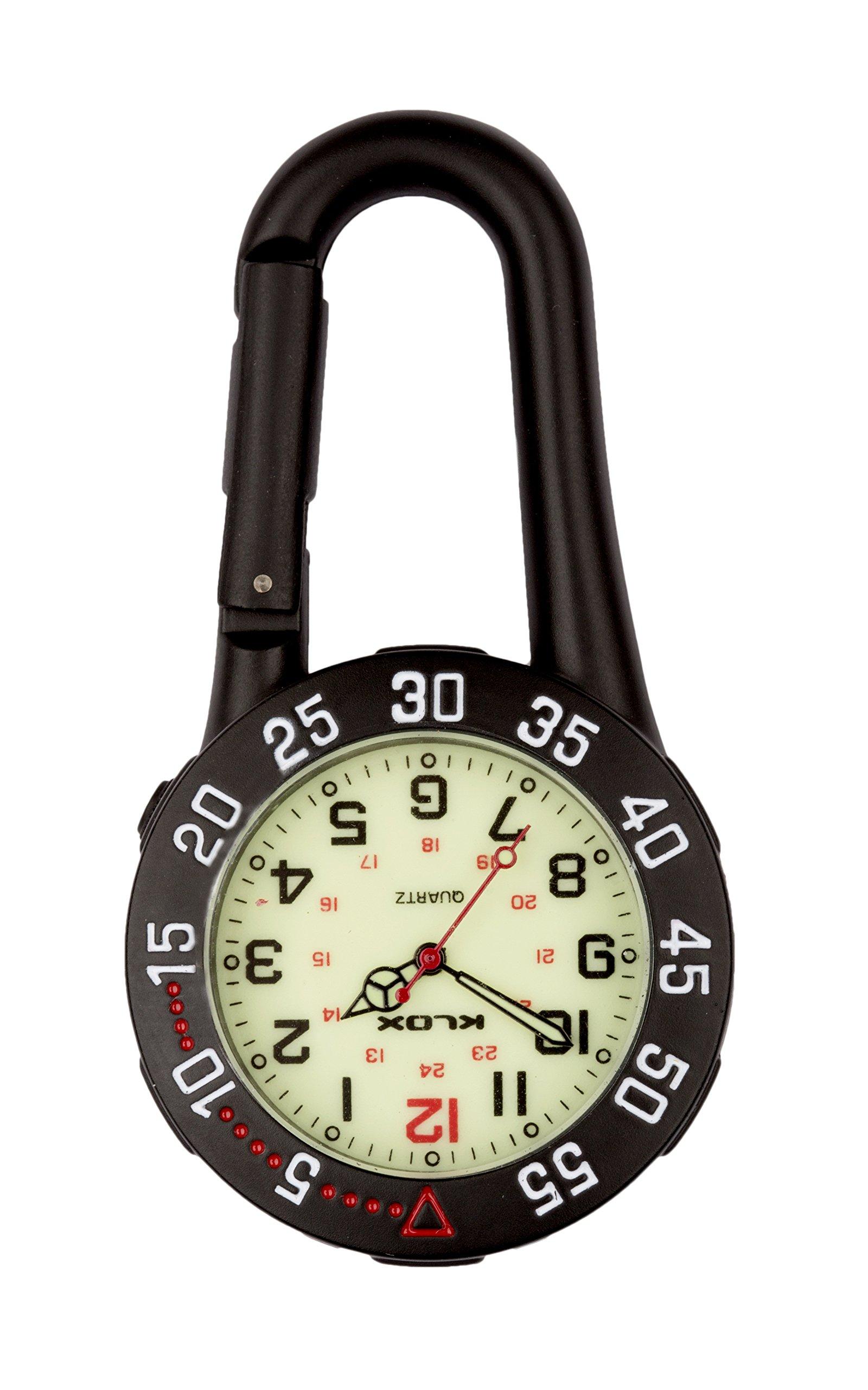 Black Clip on Carabiner Rotating Bezel Luminous Face FOB Watch Doctors Nurses Paramedics Chefs