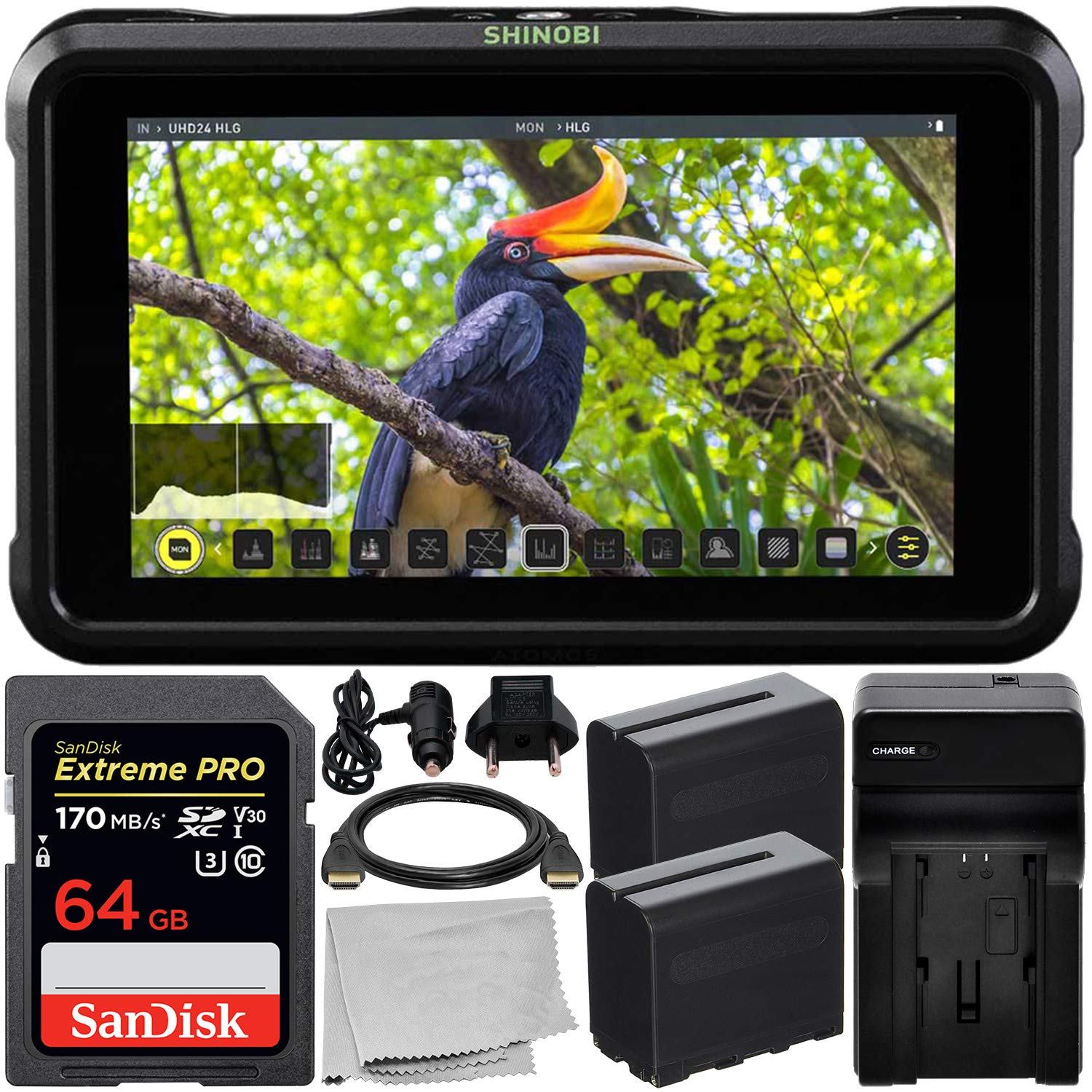 Atomos Shinobi 5.2'' 4K HDMI Monitor with Essential Accessory Bundle - Includes: SanDisk Extreme PRO 64GB SDXC Memory Card + 2x Extended Life NP-F970 L-Series Batteries with Charger + HDMI Cable + MORE