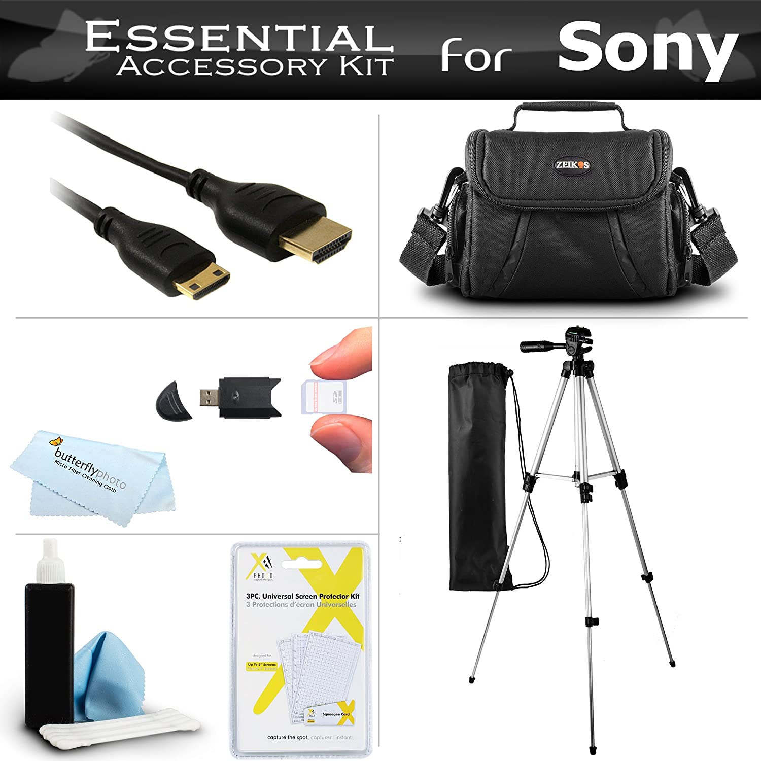 "Essential Accessory Kit For Sony HDR-CX130 HDR-CX160 HDR-CX360V HDR-CX560V HDR-CX700V HDR-PJ10 HDR-PJ30V HDR-PJ50V HDR-TD10 HDR-XR160 Camcorder Includes 50"" Tripod + Case + Mini HDMI Cable + More"