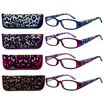 c6802fb4e00 EYEGUARD Reading Glasses 4 Pairs Quality Spring Hinge Stylish Leopard  Designed Womens Glasses for Reading 4