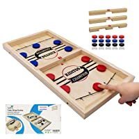 Fast Sling Punk Game Large, Slingshot Wooden Hockey Game - Advanced Version (3 Different Levels), Tabletop Winner Board Game for Kids and Adults 22.7 x 12.5 in