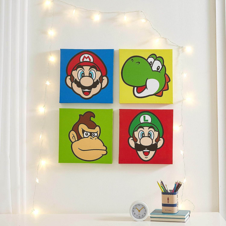Nintendo Super Mario 4 Pack Square Canvas Wall Art Set, 11