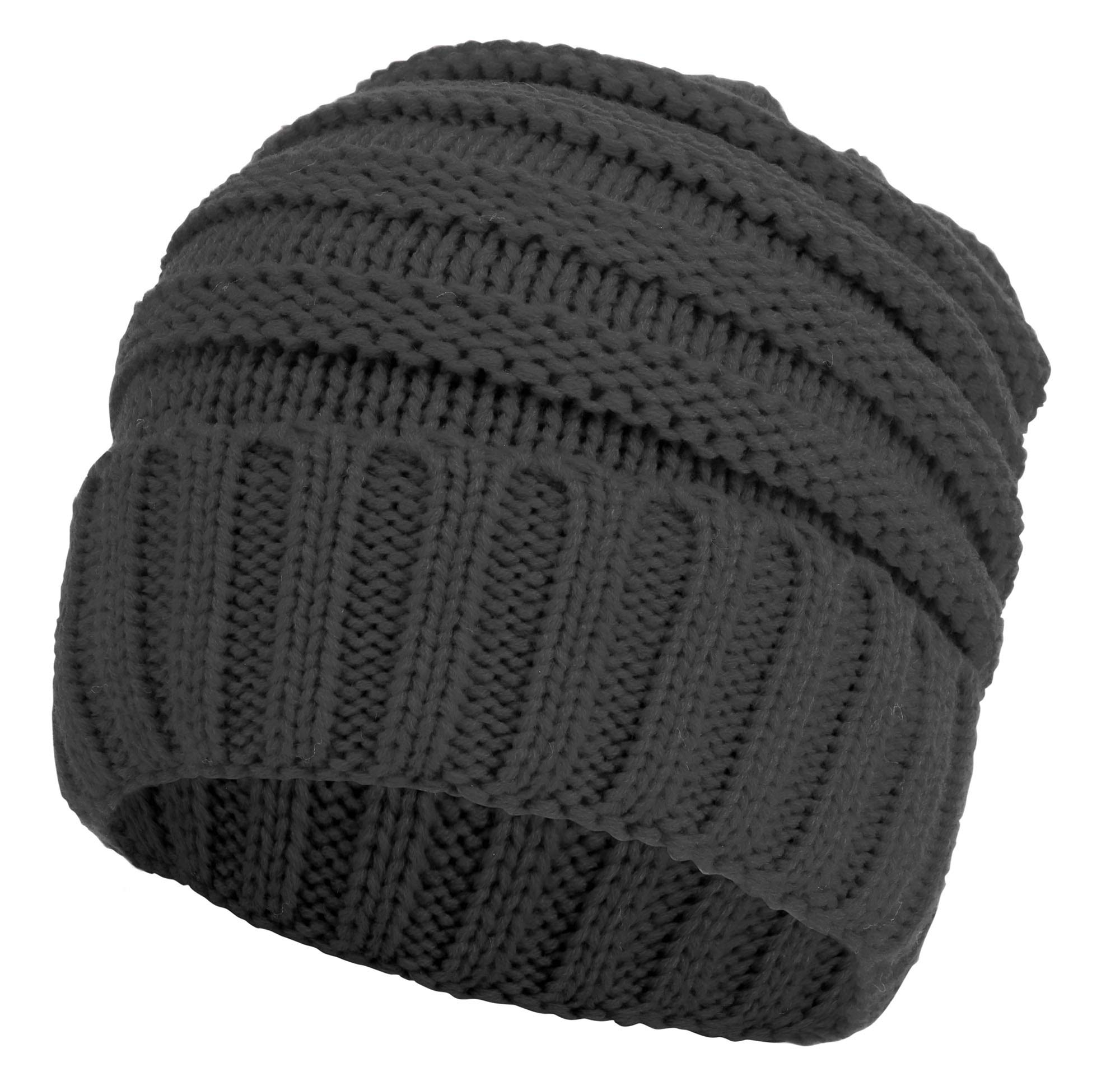 Simplicity Men Chunky Soft Stretch Cable Knit Winter Beanie Hat, Charcoal