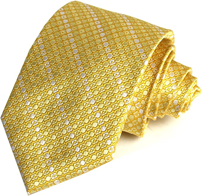 "Reattire geometric Mini Diamond 3.9"" Width Gold and White Seven Fold Tie for Men"