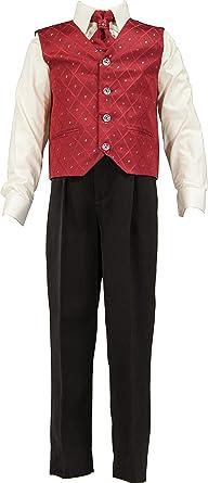 4 piezas Boys traje chaleco, camiseta, vino en crema/Blanco ...