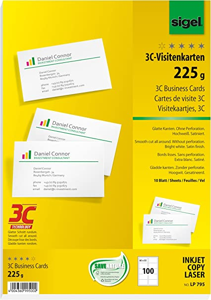 10 Blatt Visitenkarten Papier mit 100 Karten zum Bedrucken weiß Karton 250g