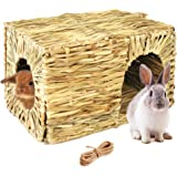 Hand Crafted Extra Large Grass House for Rabbits, Guinea Pigs and Small Animals; Edible Natural Grass Hideaway; Foldable…