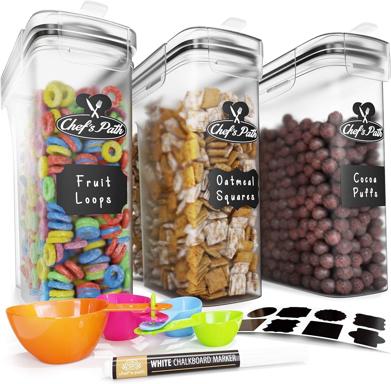 24 etichette e pennarelli Set di 5 contenitori ermetici per alimenti soluzioni per la cucina e la dispensa spaghetti ideali per conservare cereali Pretty Pantry /& Co