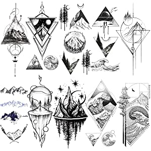 VANTATY 10 Sheets Sketch Line Art Geometric Triangle Mountain Forest Temporary Tattoos For Kids Women Men Body Forearm Tattoos Stickers Girls Boys Children Fake Tatoos Minimalist Sea Wave.
