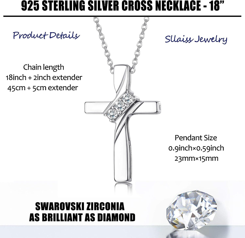 Sllaiss Collier Croix avec Swarovski Zircone en Argent Sterling 925 pour Femmes CZ Croix Pendentif Croix D/éfinit 18