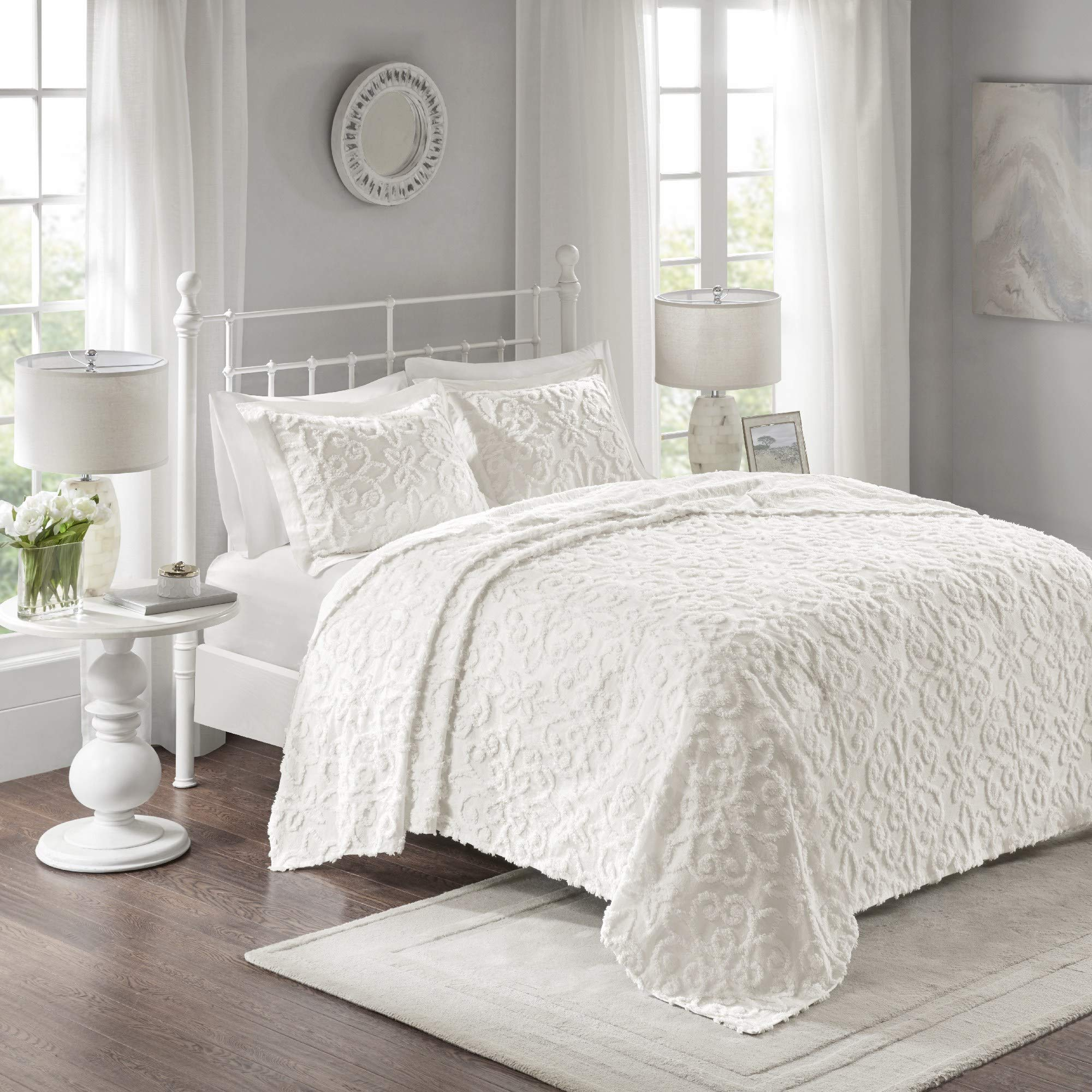 MISC Oversized White Chenille Bedspread King/Cal King 120x118 Vintage Medallion Extra Long Bedding to The Floor Tufted Old Fashioned Traditional Antique Classic Cotton, 3 Piece