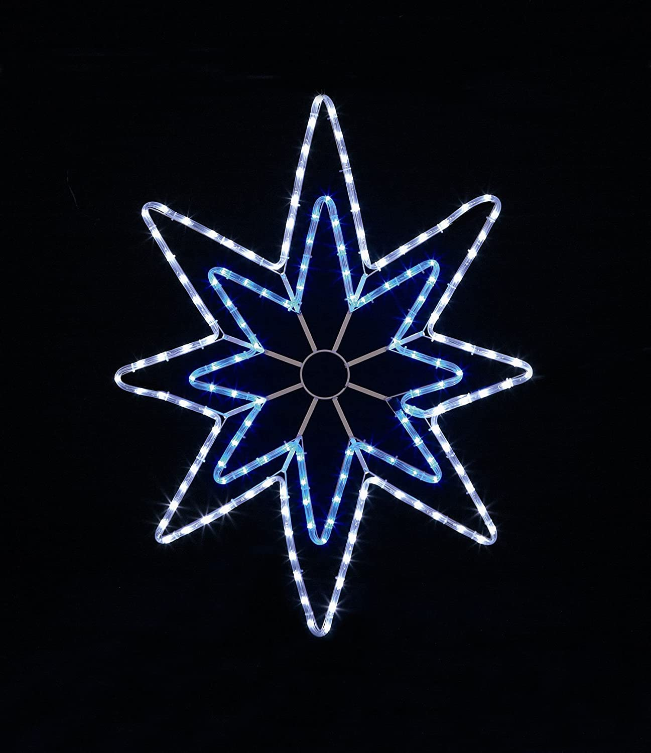 95cm x 70cm Blue & White LED Star Rope Light Silhouette Christmas Decoration Premier