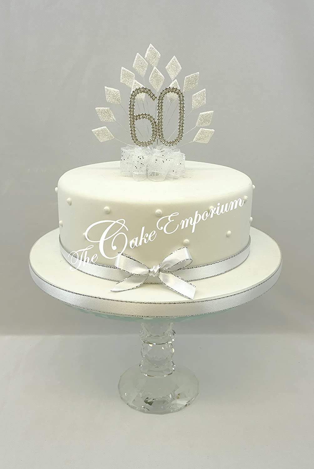 Cake Decoration Diamond 60th Wedding Anniversary Diamante Cake Topper With Matching Ribbon Amazon Co Uk Grocery