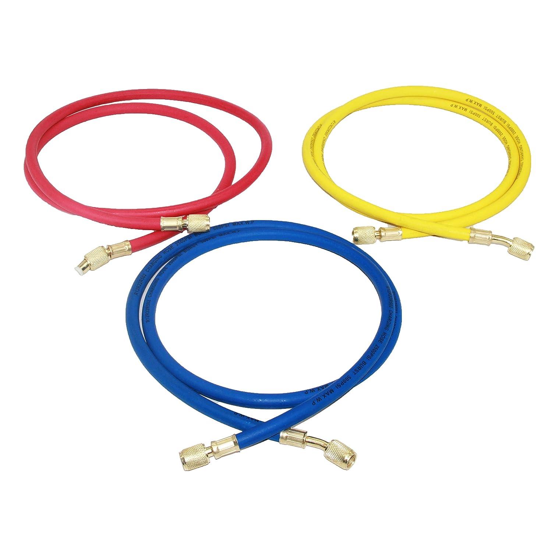 Joyway 96 inch 3 color 1//4 SAE Thread Car HVAC AC Air Conditioning Refrigeration Charging hose Tube R12 R22 R502