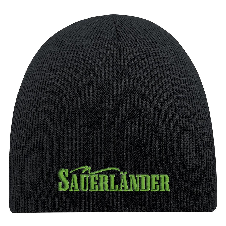 Fan-O-Menal Skimütze Strickmütze Beanie mit Einstickung - Sauerländer - 54869 schwarz