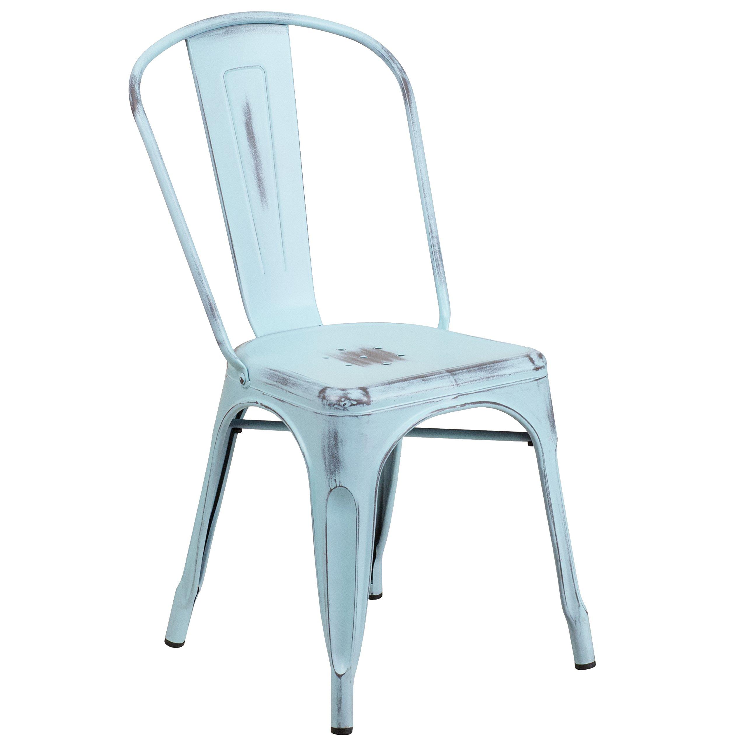 Flash Furniture Distressed Green-Blue Metal Indoor-Outdoor Stackable Chair