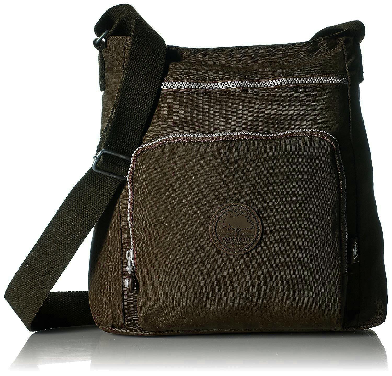 Oakarbo Nylon Crossbody Purse Multi-Pocket Travel Shoulder Bag (1301 Brown)
