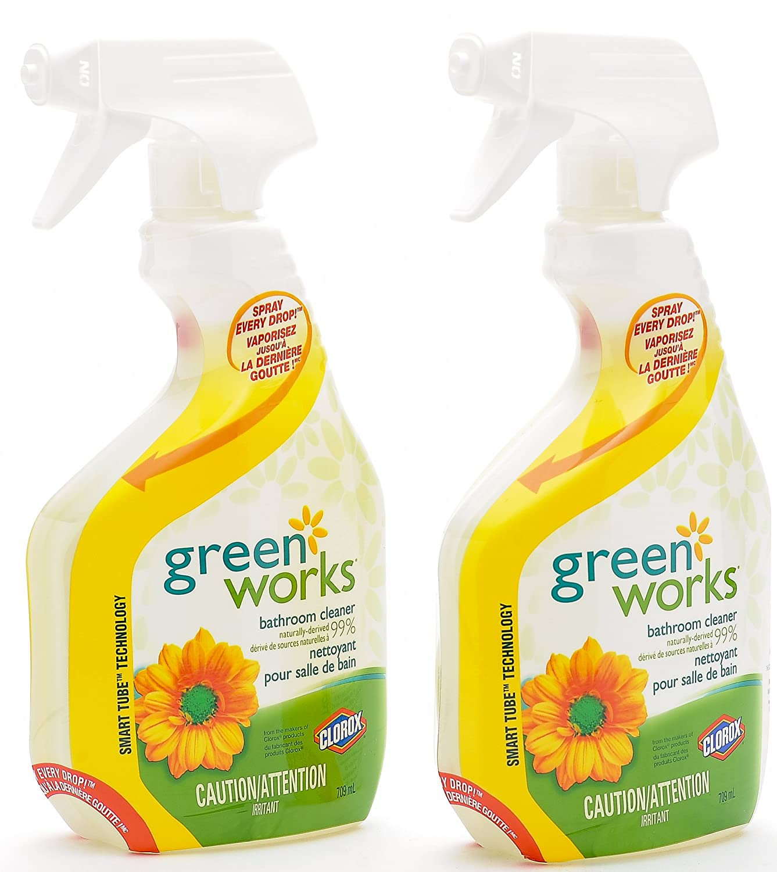 Green Works Natural All Purpose Plant Based Biodegradable Bathroom Cleaner 24oz / 709 ml (2 Pack) GreenWorks