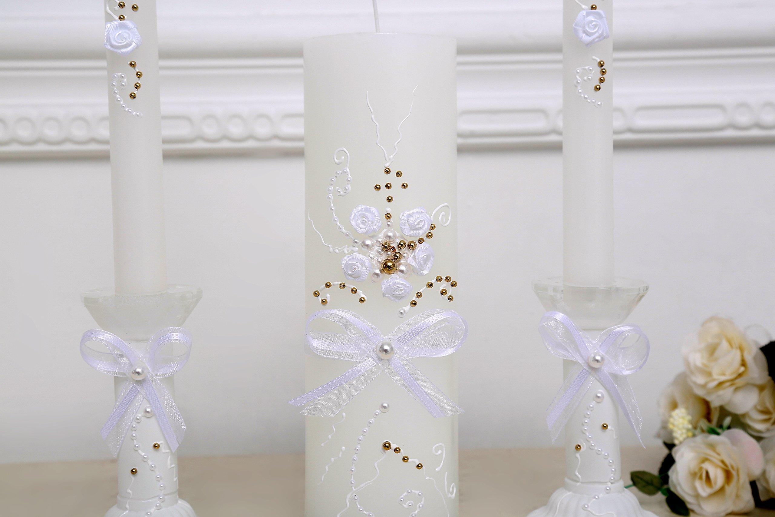 www.Beadingsupplys.com Unity Candle, Unity Wedding Candle Set, Gold and White plears Decor, White Unity Candle Set with Glass candleholders