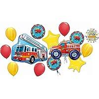Fire Truck Party Supplies Birthday Balloon Bouquet Rescue Team Decorations 14 piece
