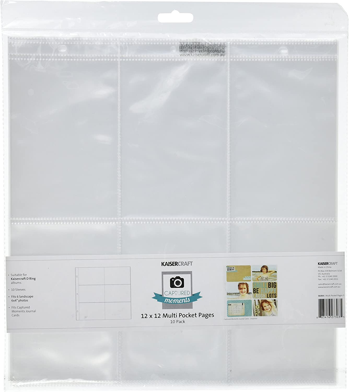 D-Ring Album Multi Pocket Protectors 12X12 10//Pkg-12 Pockets//Vertical