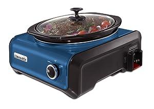 Crock-Pot SCCPMD3-BL Hook Up Oval Connectable Entertaining System, 3.5-Quart, Metallic Blue