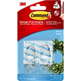 Command Medium Hooks,Transparent, Holds 900 gm, (2 hooks, 4 strips), No Drilling, Holds Strong, No Wall Damage