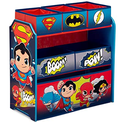 Delta Children 6-Bin Toy Storage Organizer, DC Super Friends | Batman | Robin | Superman | Wonder Woman | The Flash : Baby