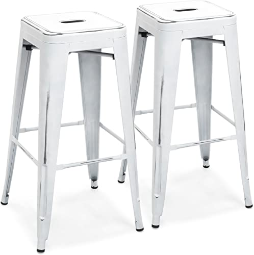 Best Choice Products 30in Set of 2 Modern Industrial Backless Metal Counter Height Bar Stools – Distressed White