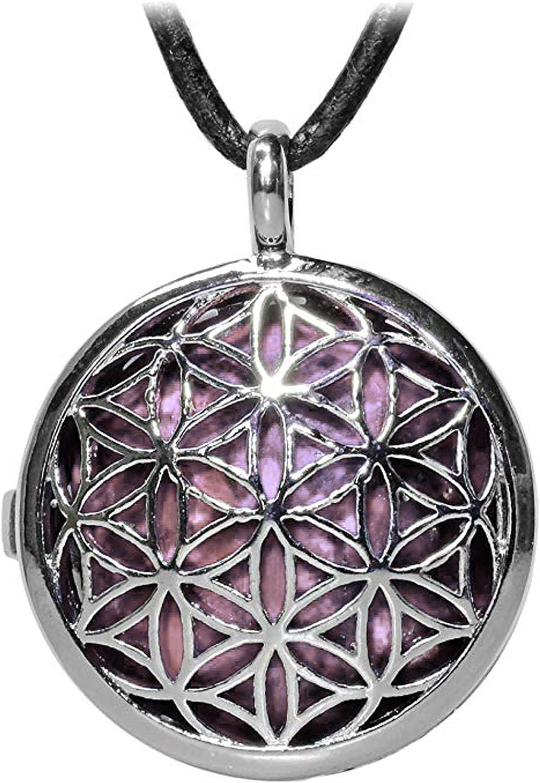 Kaltner Präsente - Collar de Piel para Hombre y Mujer con Colgante de Flor de la Vida y Piedra Preciosa de Cuarzo Rosa (25 mm de diámetro)