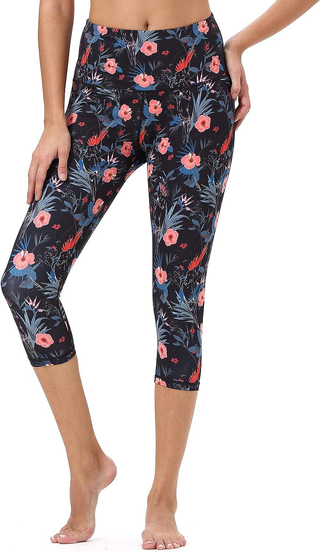 Mint Lilac Womens High Waist Workout Printed Yoga Leggings Athletic Capri Tummy Control Running Pants