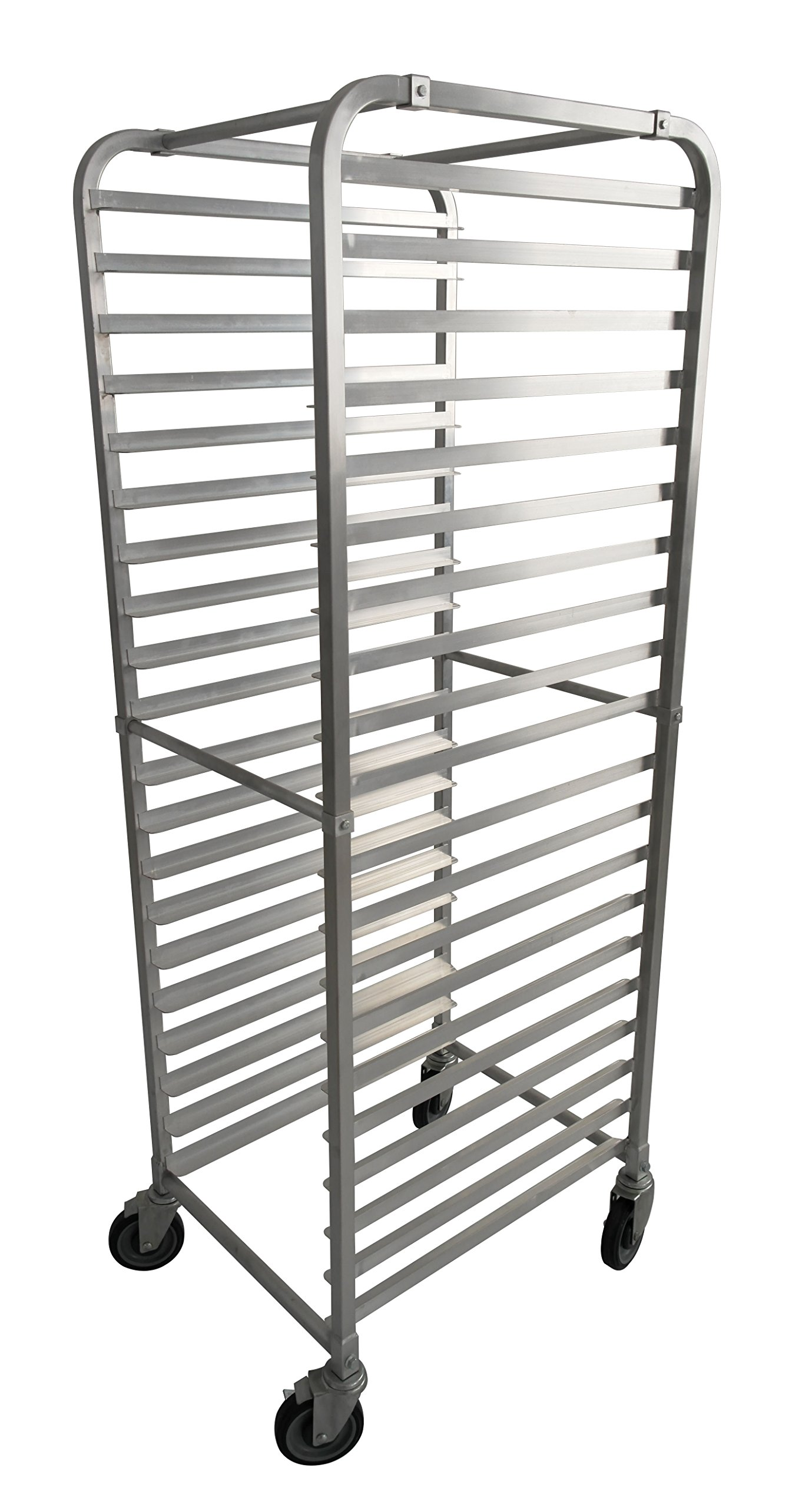 JET Aluminum 20 Tier Commercial Kitchen Baking Bun Pan Rack Holds 20 Full Size or 40 Half Size Sheet Pans with 5-inch Swivel Casters and Easy Assembly, 20.25 x 26 x 69-inch, Silver