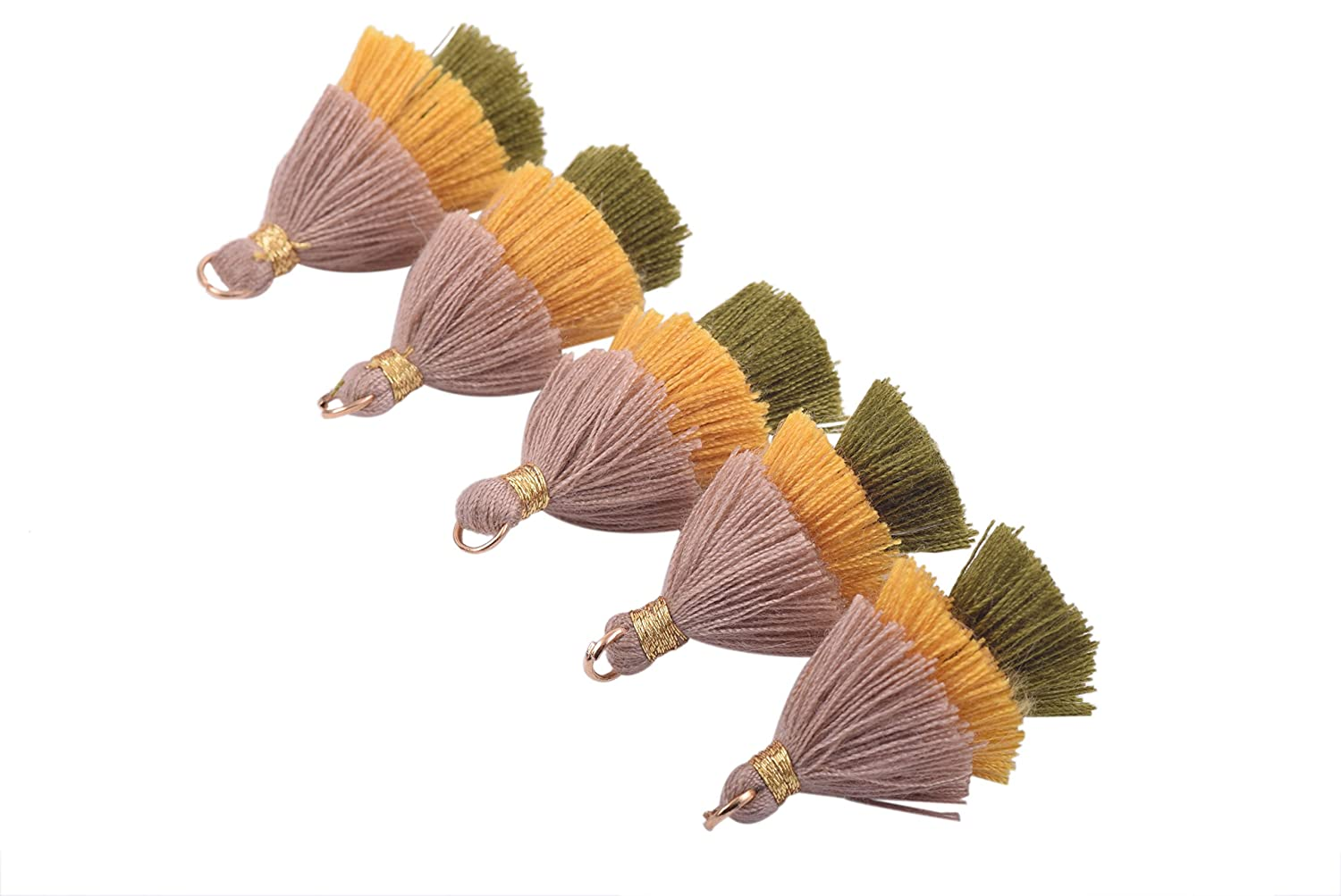 KONMAY 10pcs 1.4 Tiny Tri-Layered Tassels with Gold Jump Ring for Jewelry Making 3.5cm Clothing