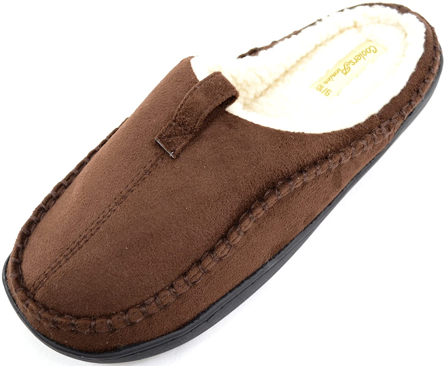 ABSOLUTE FOOTWEAR Mens Soft Fleece Mules//Slippers//Indoor Shoes with Warm Faux Fur Inners