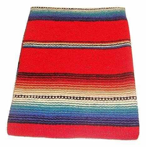 Amazon.com: # 776 Rojo Serape falsa Manta clásico mexicano ...