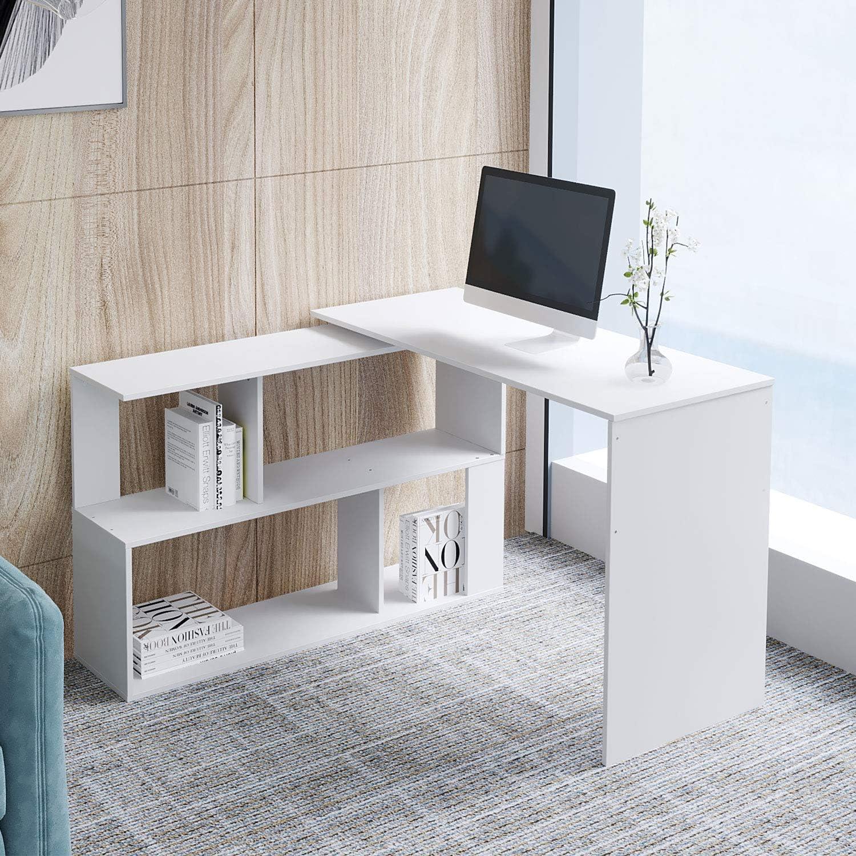 studio moderna per casa colore: bianco ufficio postazione di lavoro per PC portatile tavolo da gioco Outwin scrivania angolare pieghevole in legno scrivania per computer con cassetti//mensole