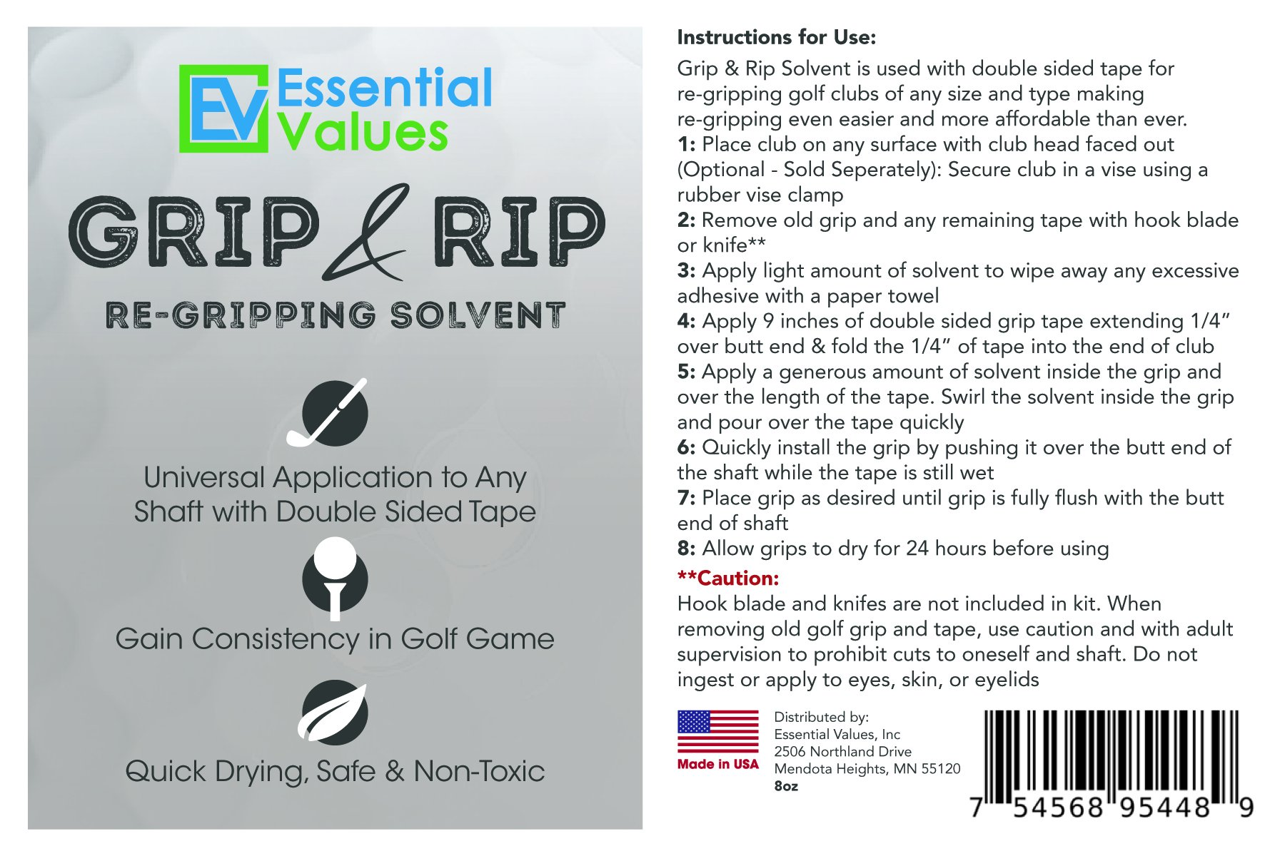 Essential Values Golf Regripping Kit, Best Value - Reusable 8oz Solvent & 28 Tape Strips To Regrip Your Entire Golf Grip Set (8 OZ Solvent & 28 Strips) by Essential Values (Image #7)